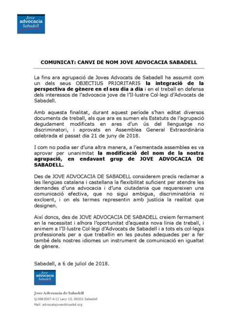 COMUNICAT JAS CANVI DE NOM